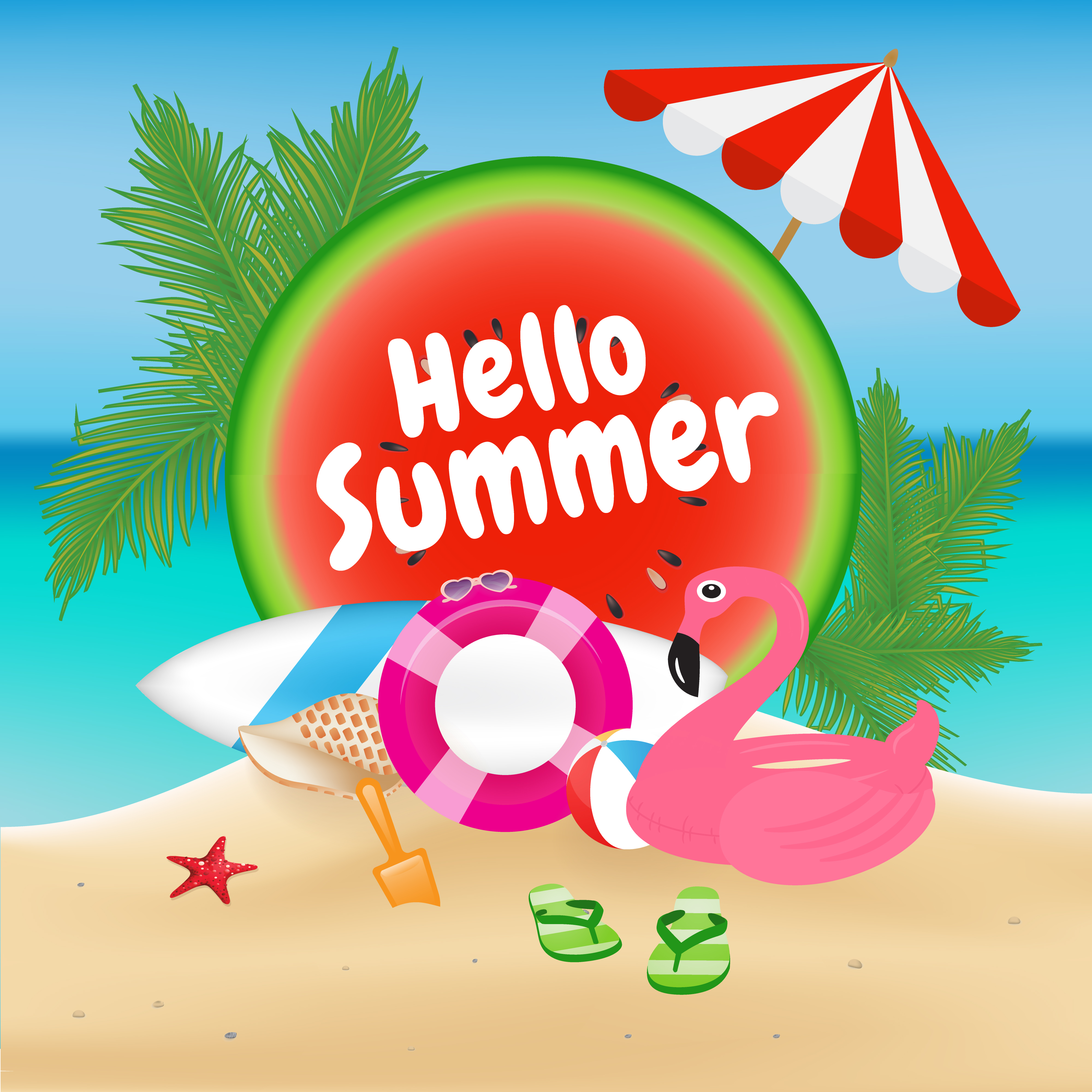Hello Summer Season Background And Objects Design With