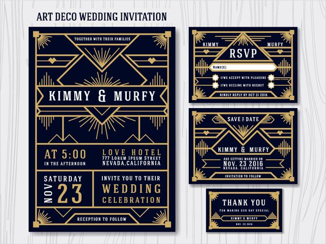 Great Gatsby Art Deco Wedding Invitation Design Template. Includ