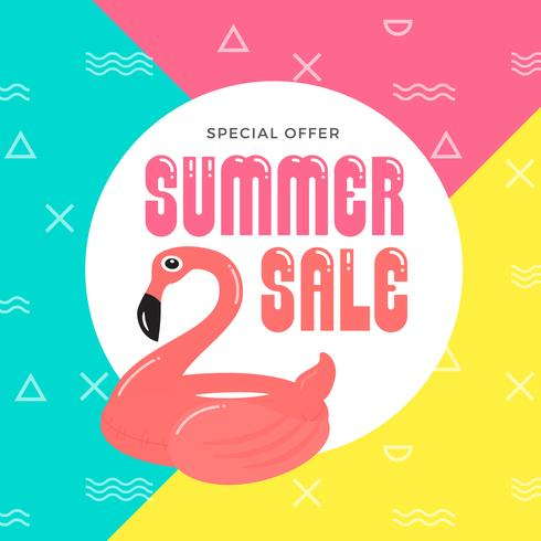 Summer Sale Banner Background Design with Flamingo Inflatable Ri
