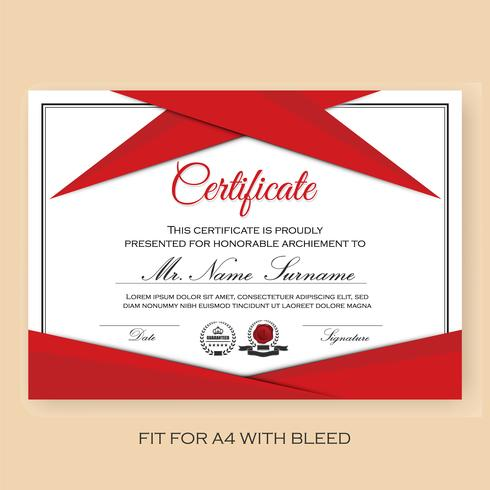 Modern Verified Certificate Background Template with Red Color S