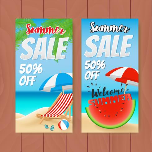 Colorful Summer Sale Banner. Vector illustration