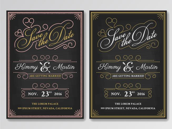 Vintage chalkboard save the date wedding invitation for Vintage save the date templates free
