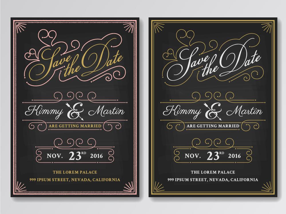 Vector Wedding Invitations: Vintage Chalkboard Save The Date Wedding Invitation