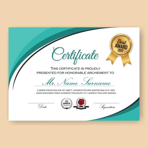 Modern Verified Certificate Background Template with Turquoise C