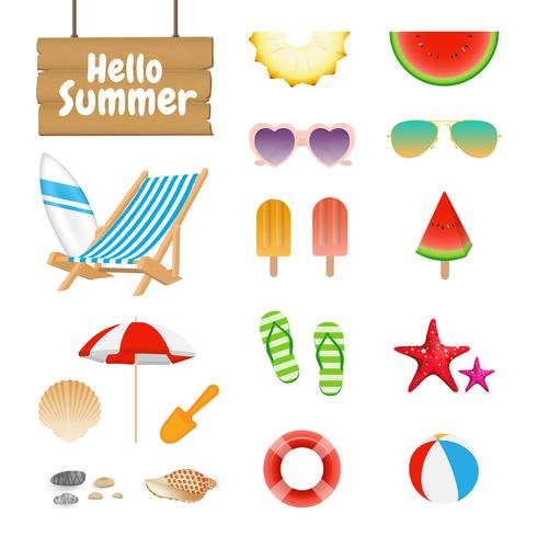 Set of Realistic Summer Design Objects and Elements