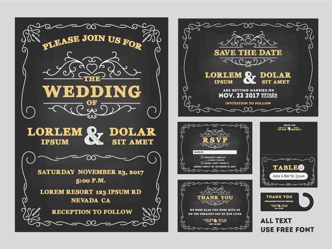 Vintage Tafel-Hochzeits-Einladungsdesignsätze