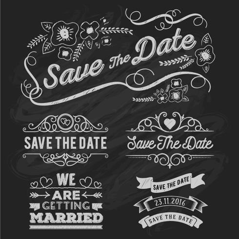 Set of save the date typography frame and ribbon chalk style. Sa vector