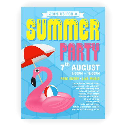 Summer party invitation flyer background template design