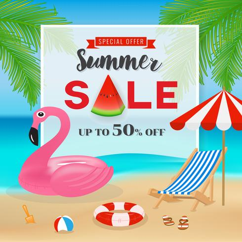 Summer sale promotion banner background. Seascape background wit