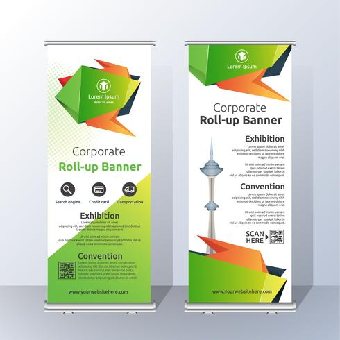 Diseño de la plantilla de Banner Roll Up vertical para Anunciar y Adverti vector