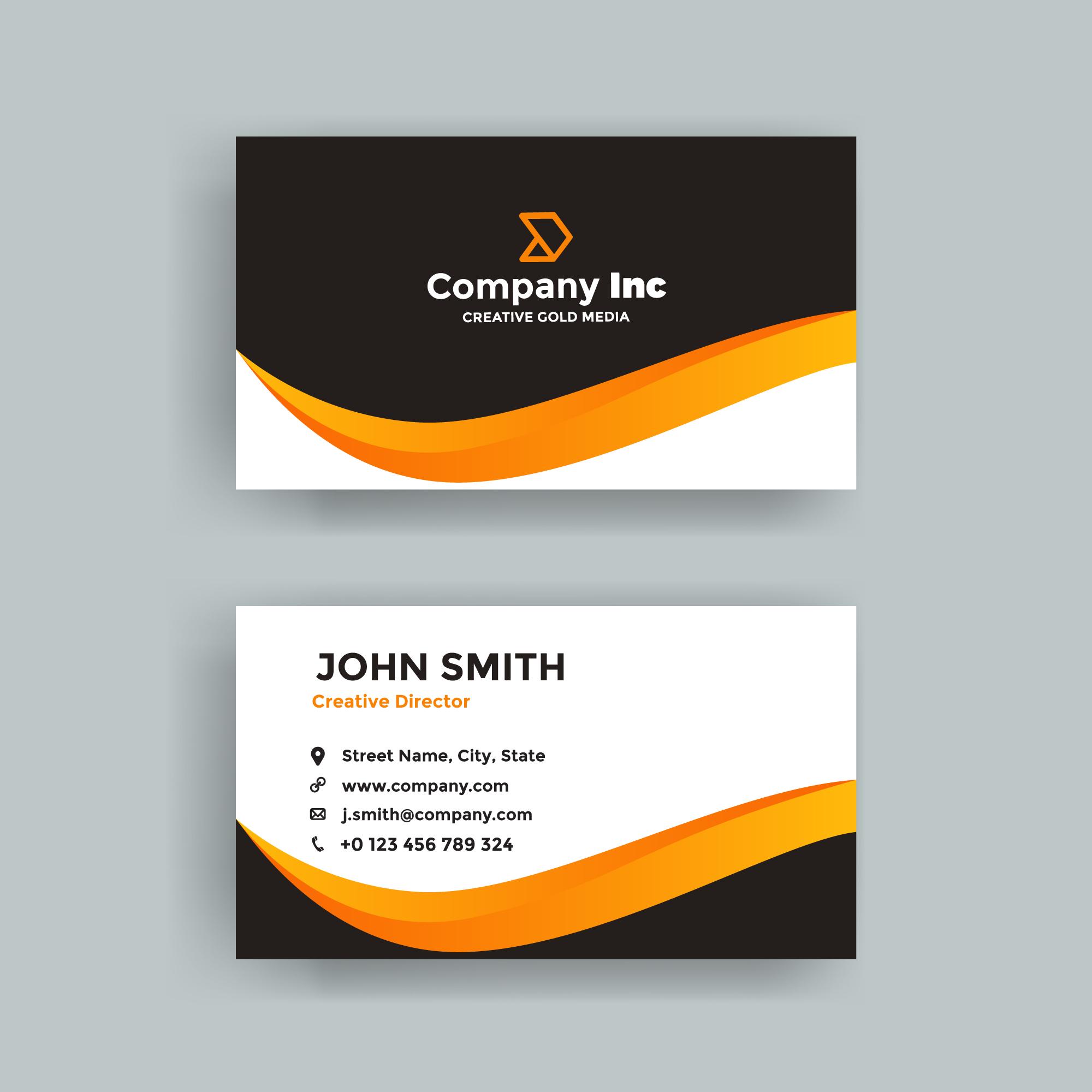 Elegant Orange Line Business Card