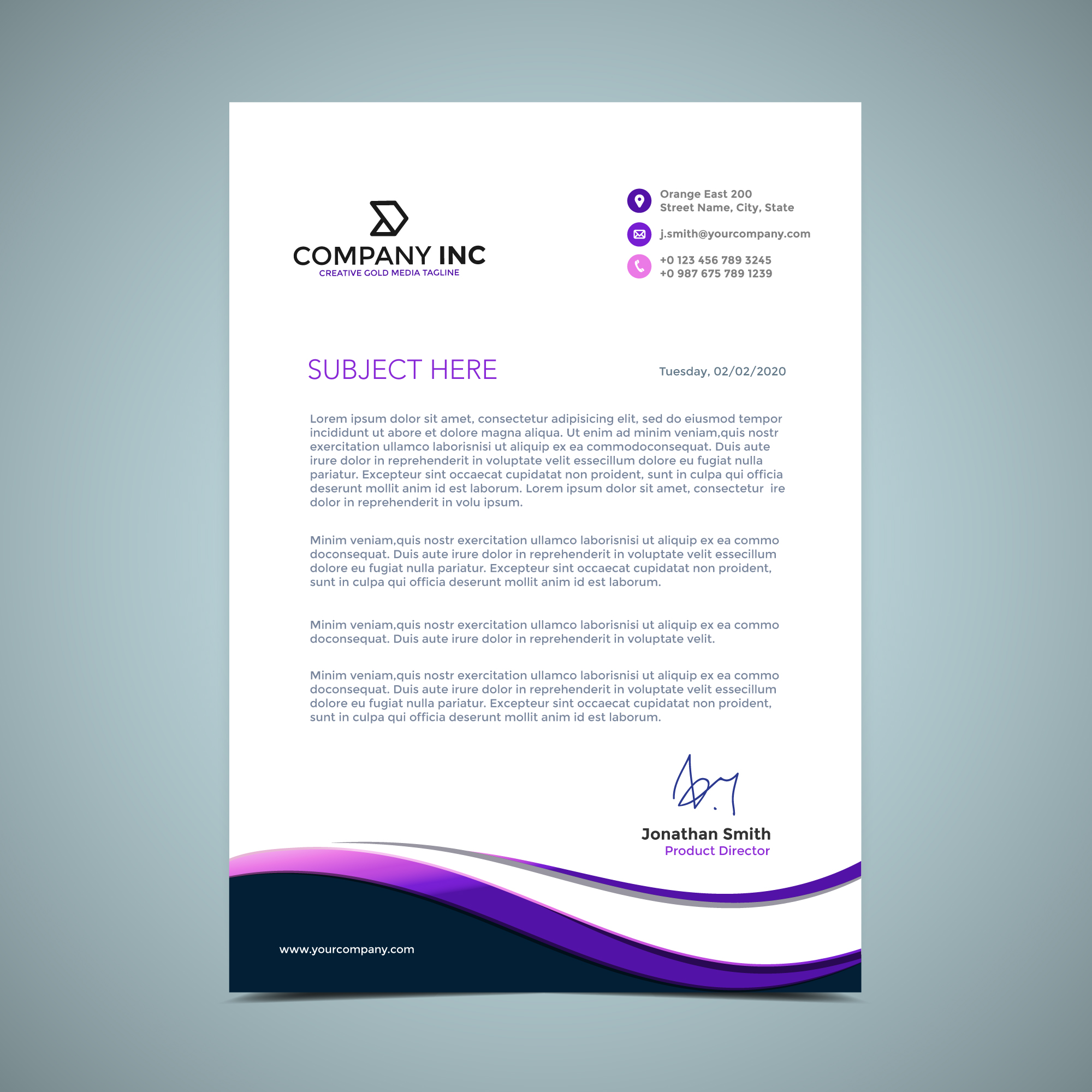 purple letterhead design