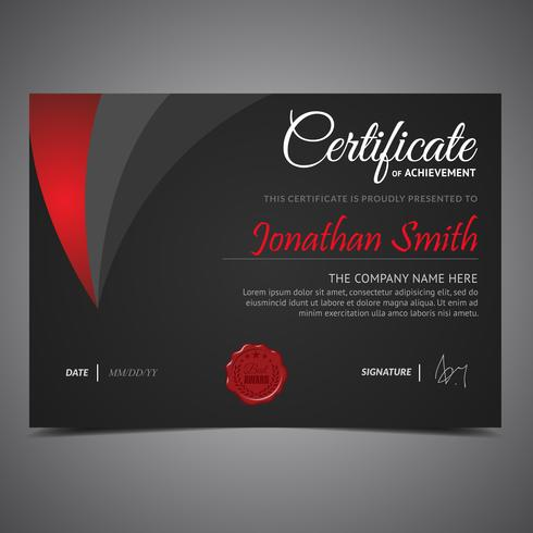 Black And Red Diploma Template