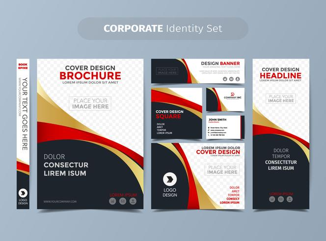 Gold And Red Corporate Identity Set