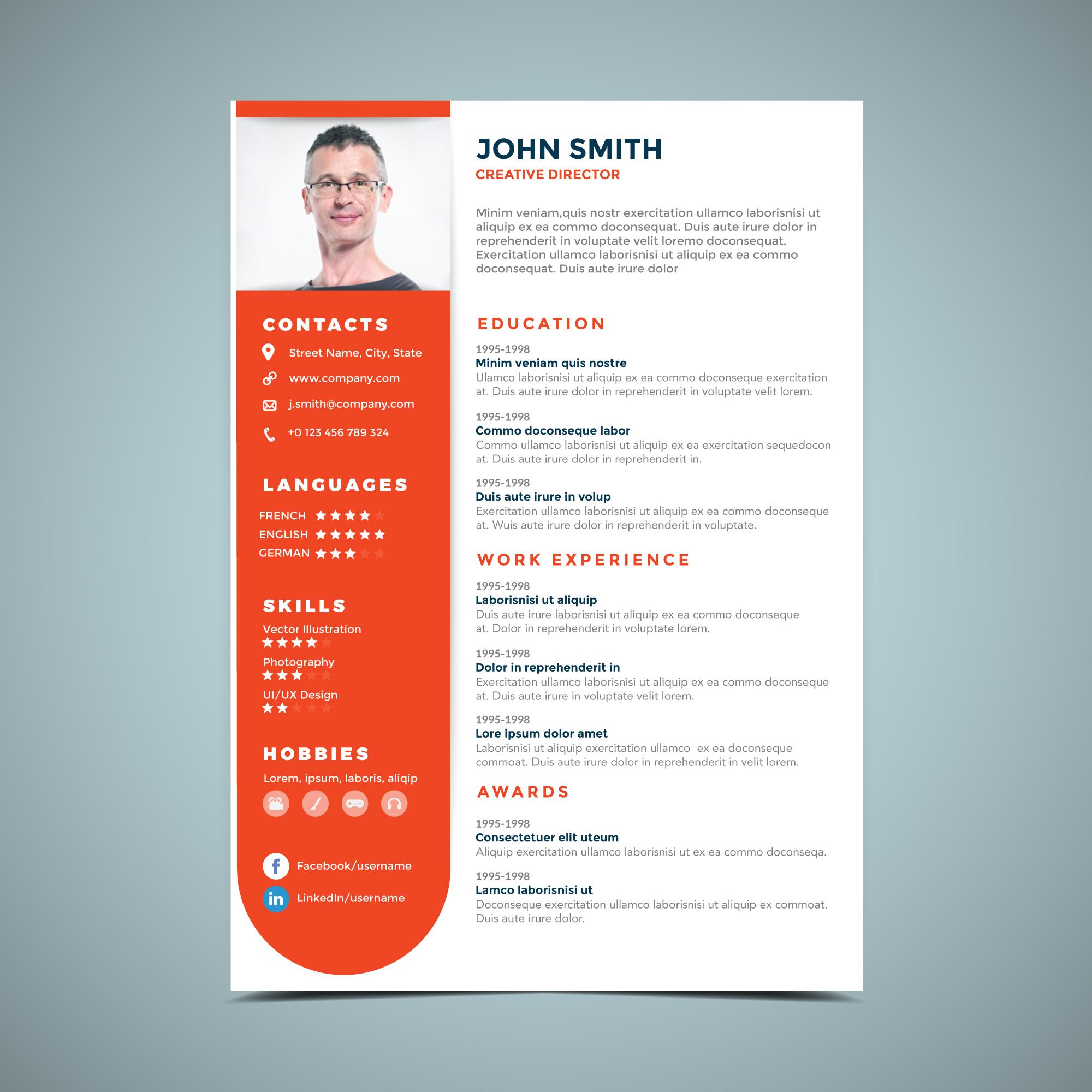 orange resume design template