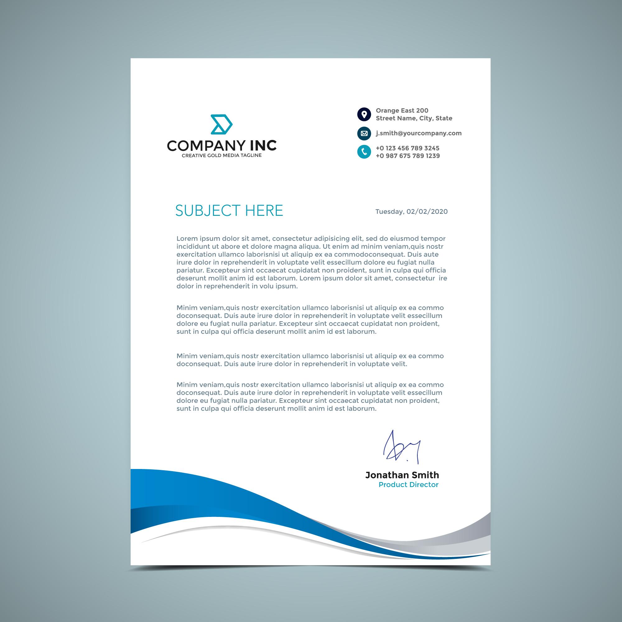 blue curve letterhead design