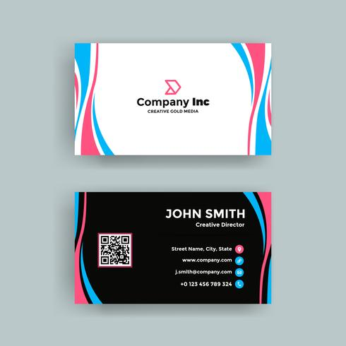 Pink And Blue Elegant Business Card