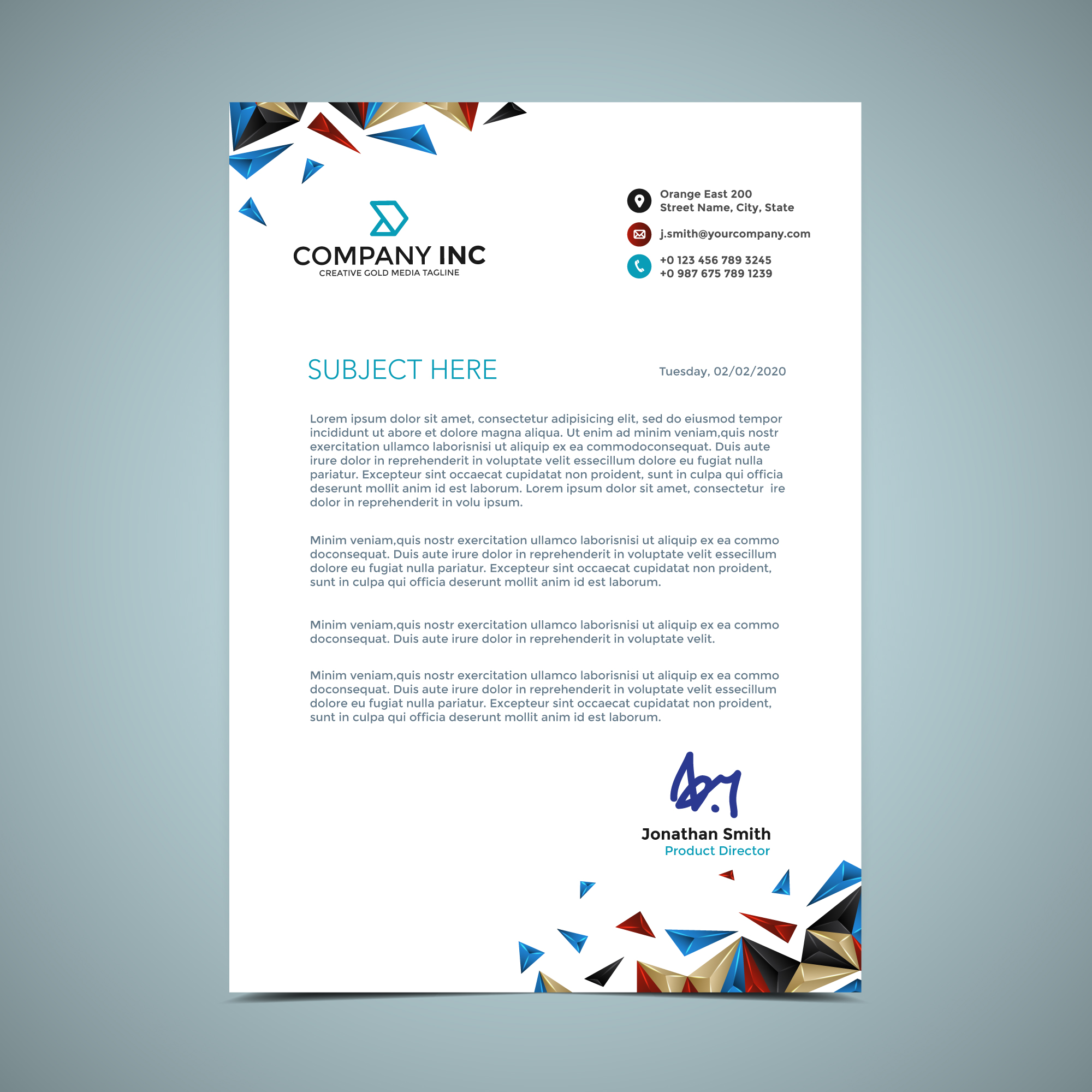 vector-blue-and-gold-letterhead-design Official Letterhead Template on cleaning company, graphic design, find free, monogram personal, for word free,