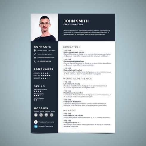 Minimalist Resume Design Template - Download Free Vector Art, Stock ...