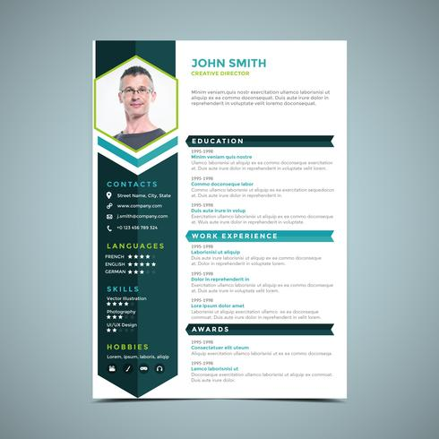 Hexagonal Blue Resume Design