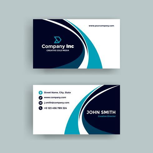 Cartão de visita elegante azul da curva