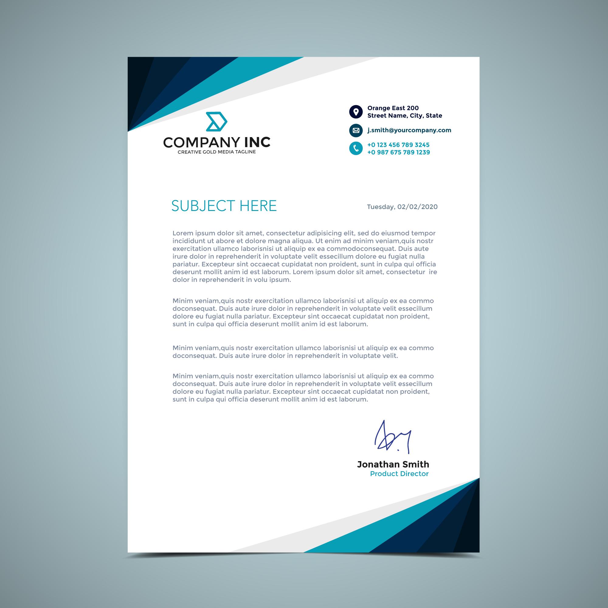 blue letterhead design
