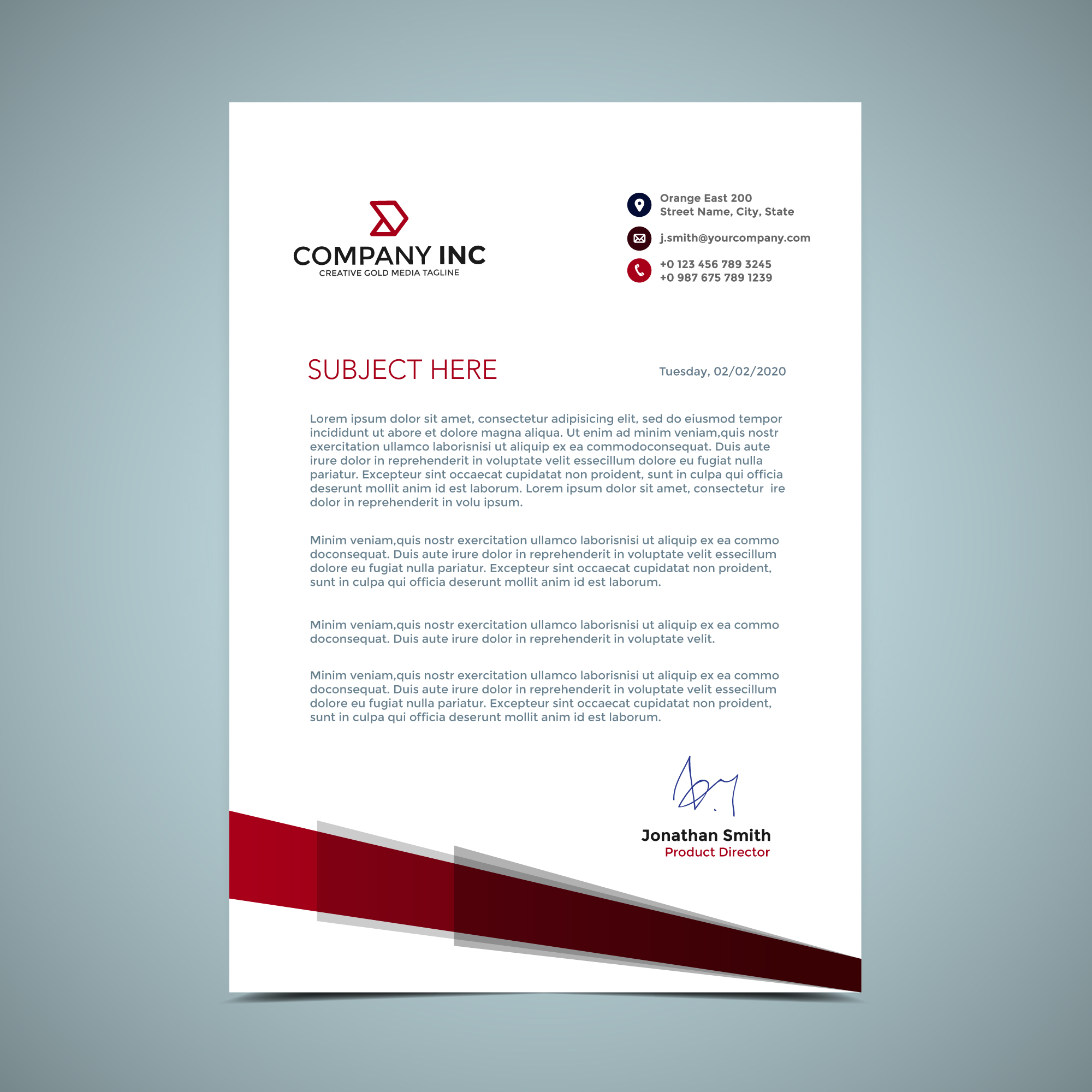 vector-red-letterhead-design Official Letter Template on sample request, sample resignation, sample business, basic cover,