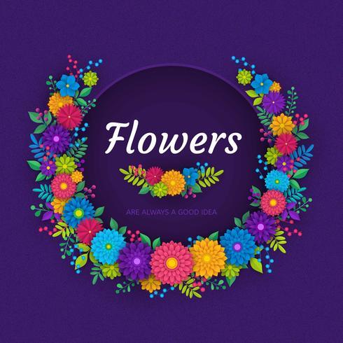 3D Floral Paper Art Vector kaartsjabloon