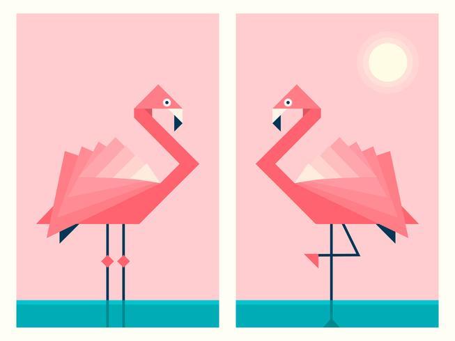 Flamingos I Geometrisk Origami Paper Art Style