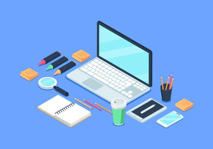 Flat Isometric Workspace Background Illustration vector