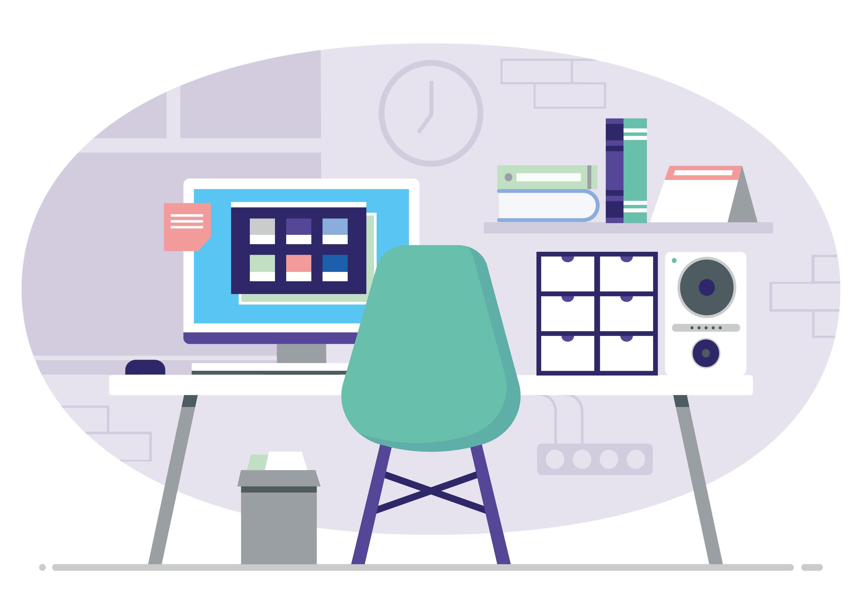 Vector Office Desk Illustration Download Free Vector Art
