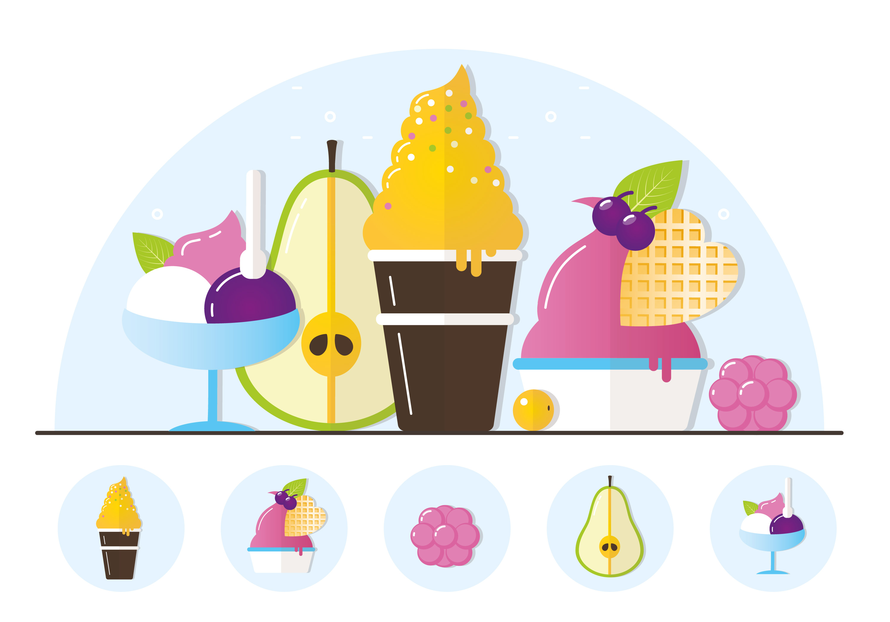 Vector Fruit Ice Cream Illustration Download Free Vector