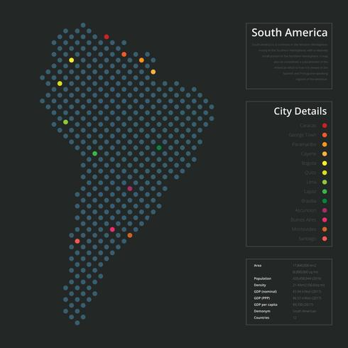 Modern South America Map in Dots Style
