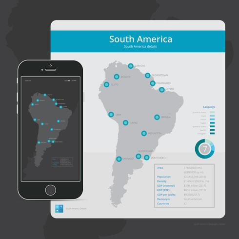 Modern South America Map for Mobile Application UI