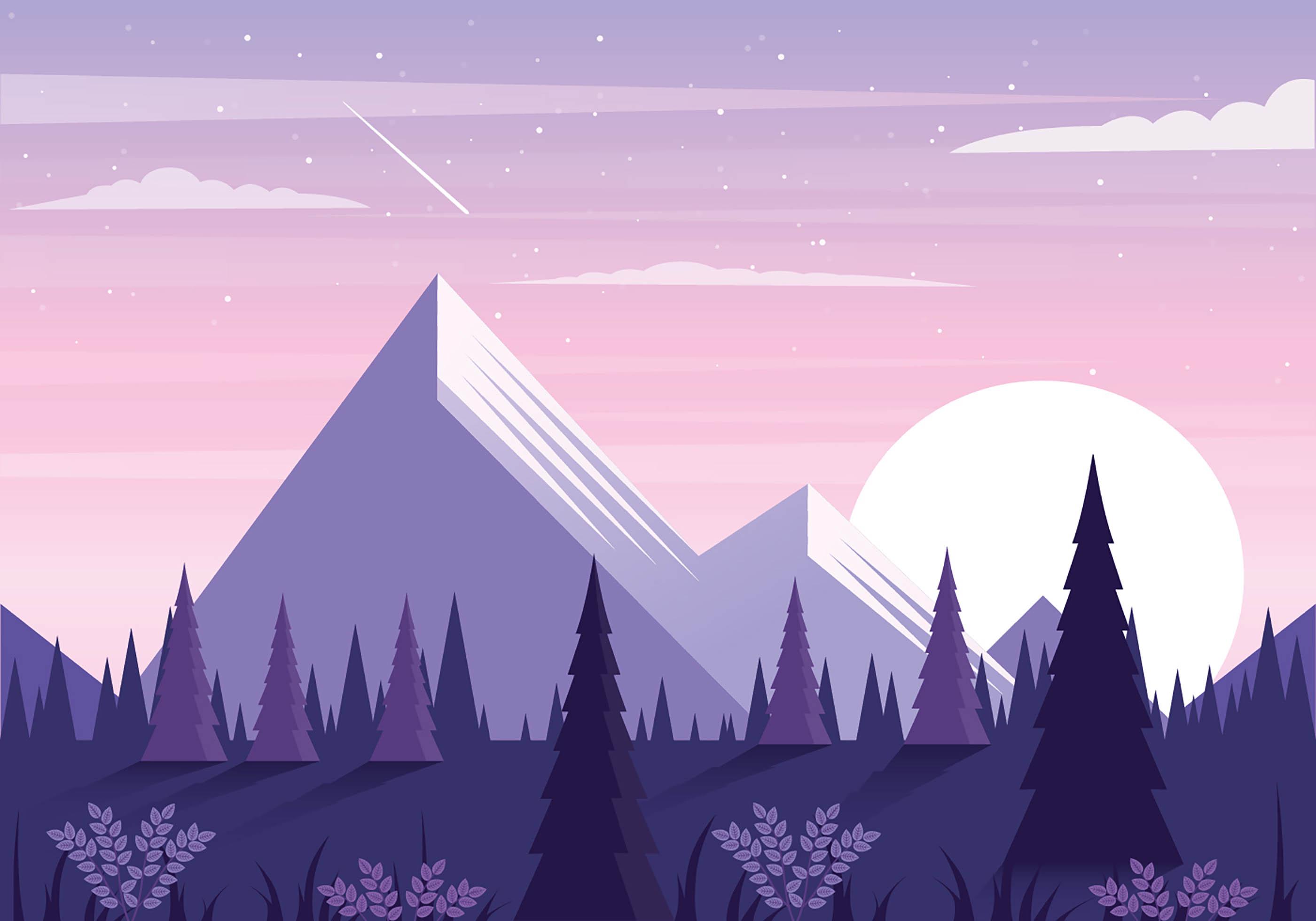 Landscape Illustration Vector Free: Vector Beautiful Landscape Illustration