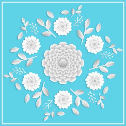 3d realistische Blumen Papercraft mit flacher Tosca-Hintergrundvektorillustration