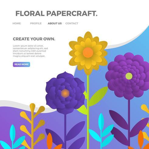 Papercraft floral realista 3d con la ilustración del vector del fondo azul púrpura del gradiente