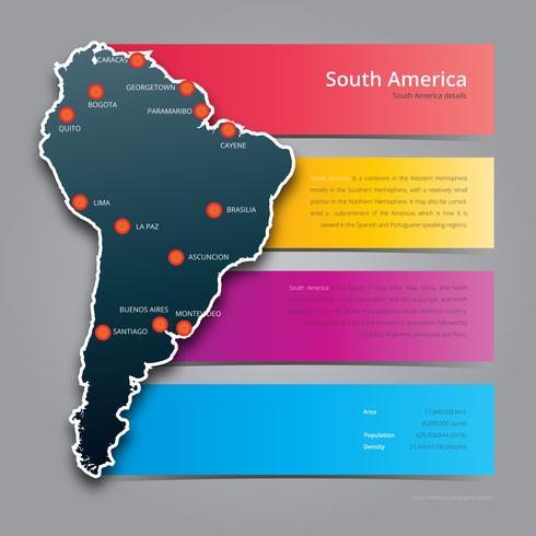 modern sydamerika karta i färgstarka infographic