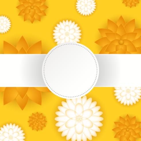 3D Floral Papercraft Vector Background