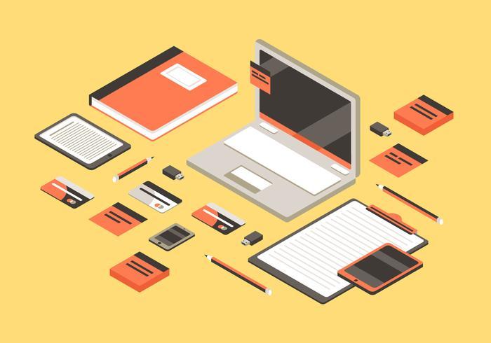 Ilustração de fundo plana isométrica do espaço de trabalho