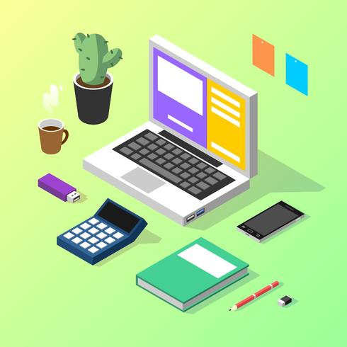 Accountant Isometric Workspace Vector