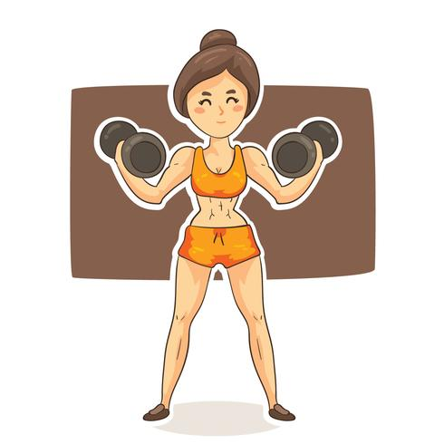 Cartoon Woman Bodybuilder Vector