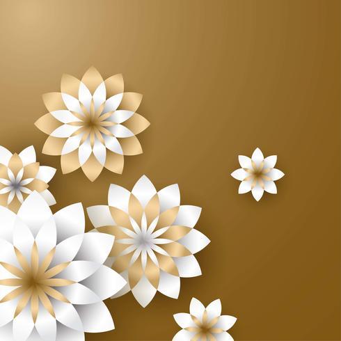 3d blomma papper hantverk guld vektor