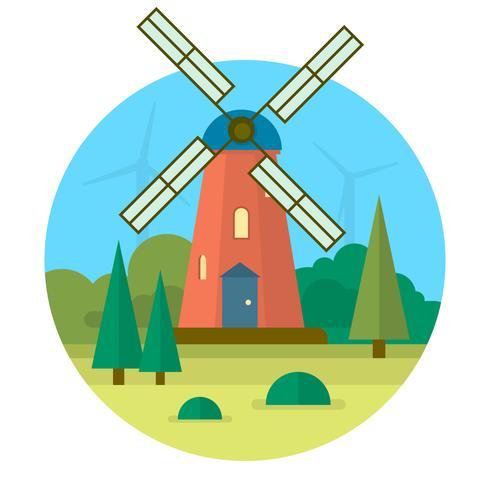 Flache Windmühle
