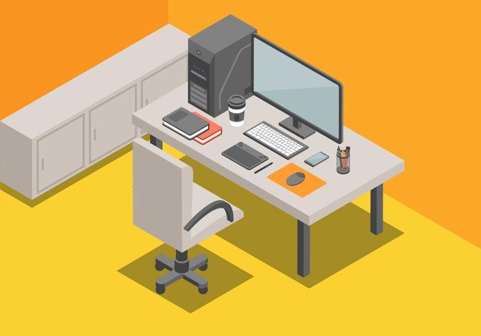 Isometrisk arbetsyta vektor illustration