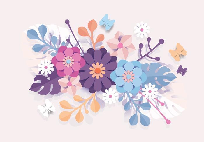 3D Floral Papercraft Vector