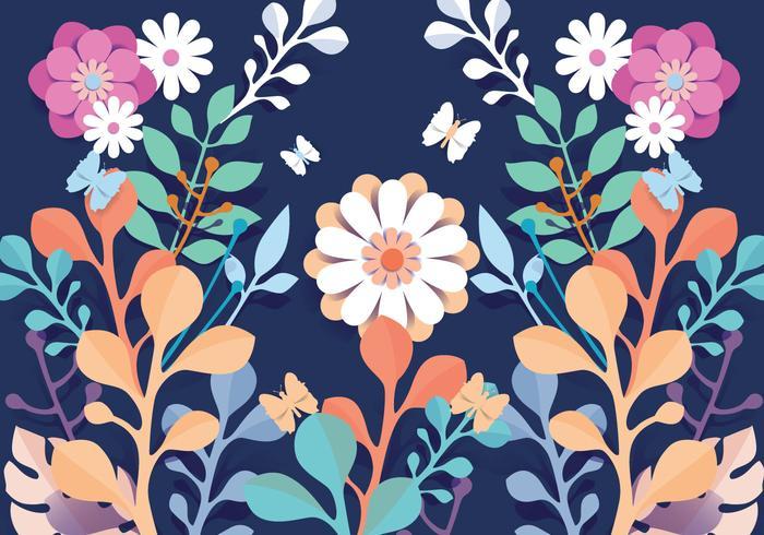 Vetor de flores de padrão floral papercraft 3D