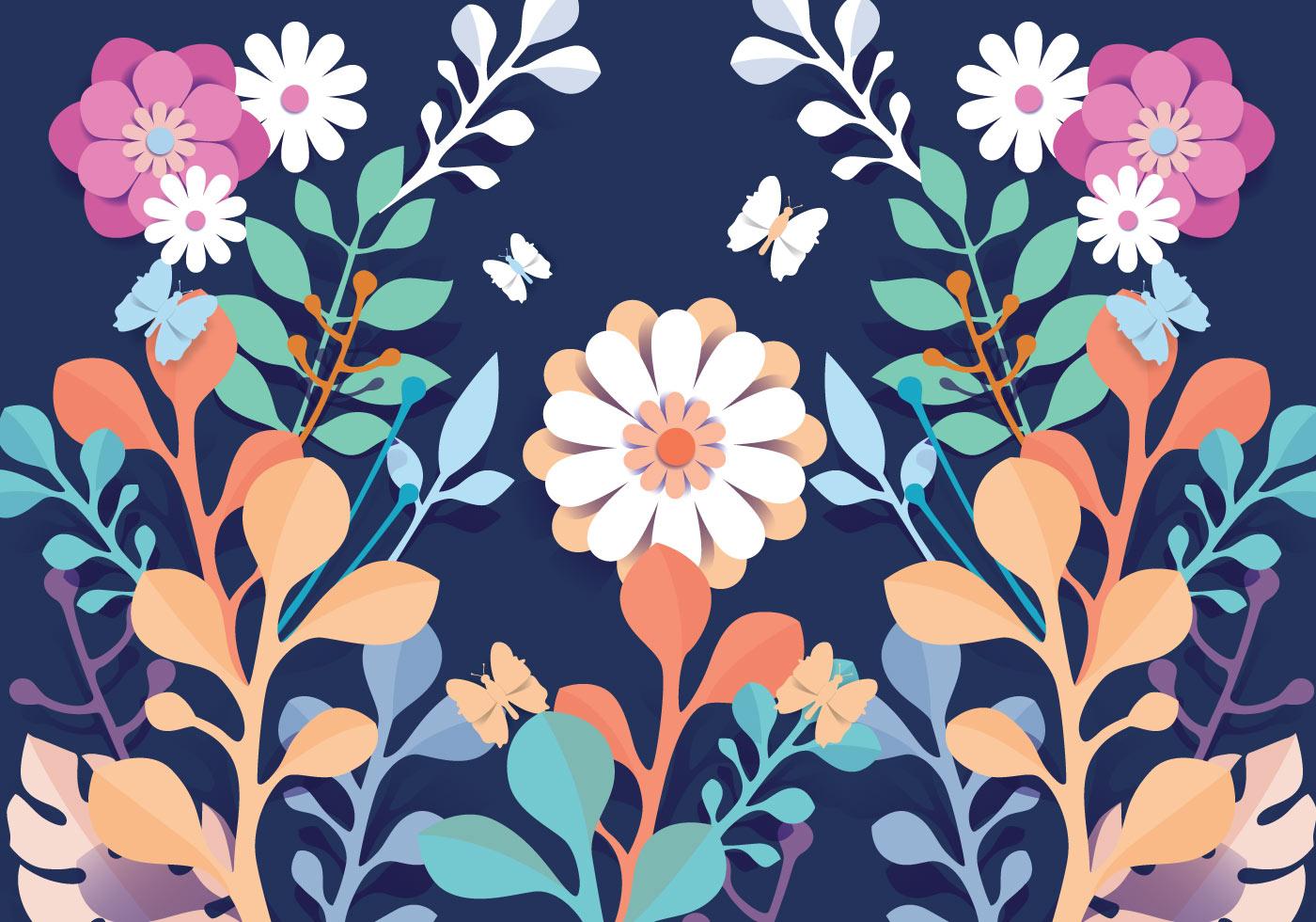 3d floral papercraft pattern flowers vector