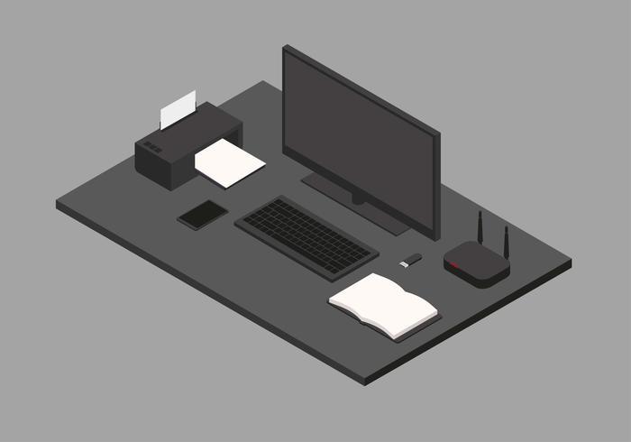 Espace de travail noir isométrique
