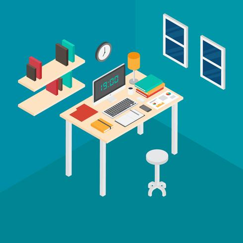 Isometric Workspace Vector Illustration